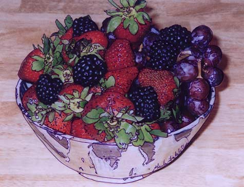 photo drawing of berries in a ceramic dish
