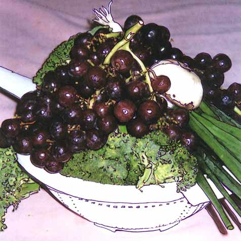 grapes, broccoli and other vegetables on a time